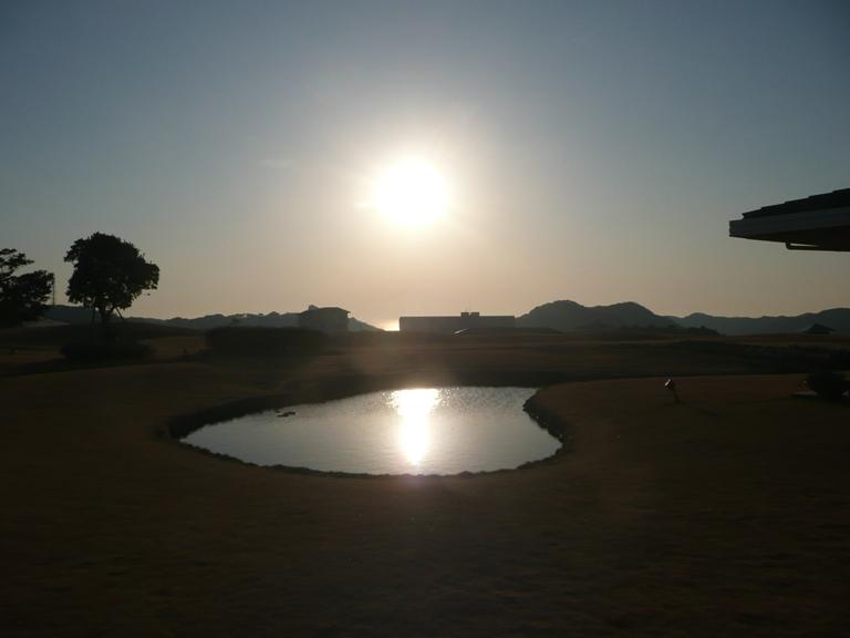 レストラン横の池に映る朝日