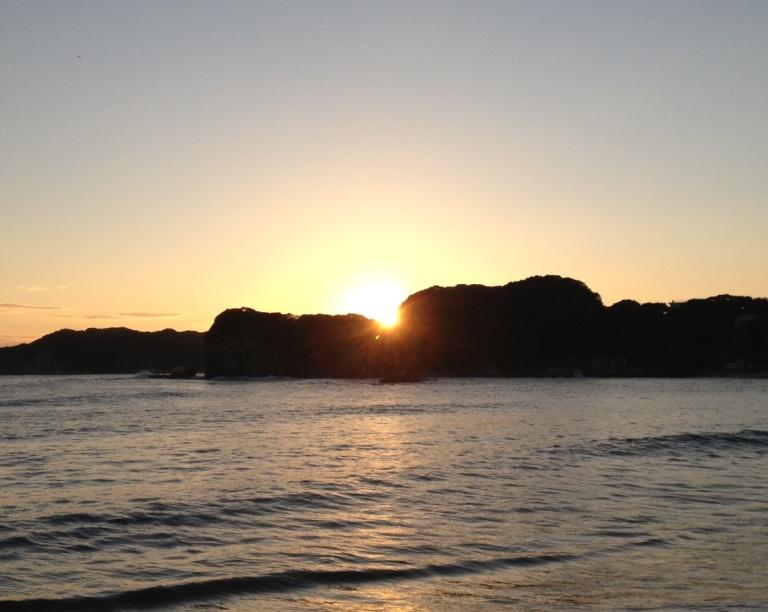 守谷海水浴場から見える夕日